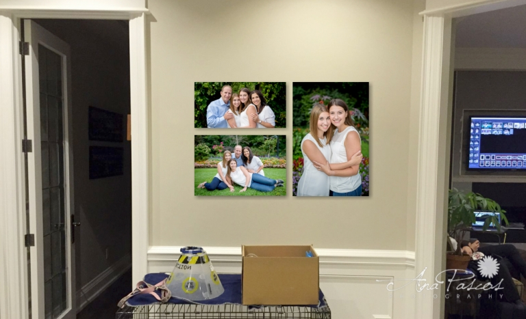 Beautiful wall display of your family portraits by Top Toronto Photographer