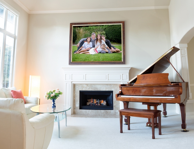 Living room decorated with leather sofa and piano with burning f